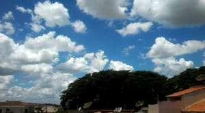 O tempo agora...sol com nuvens.
