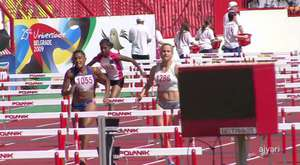 female sprint hurdlers' start