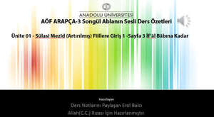 Arapça-1  05. ve 06. Ünite Erol Balcı Paylaşımı Ders Notları