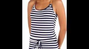 Deri Askılı Çizgi Desenli Penye Elbise - WebTv