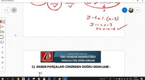 Doğrunun Analitiği - 4 (özel doğru denklemleri)