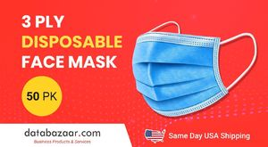 Buy 3 Ply Disposable Face Mask - 50 Pack - Same Day USA Shipping