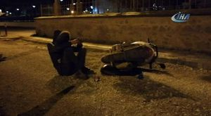 Motosikletli havada defalarca takla attı