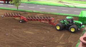 Five Fendt Tractors Ploughing Together