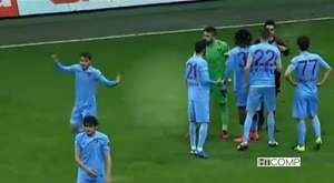 Trabzonspor denfender Salih Dursun give referee red card 21/02/2015