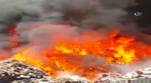 Sebze halinde yangın söndürme çalışmaları 13.02.2018