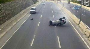 Otomobil bir anda kaymaya başladı