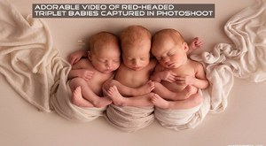 Adorable video of red-headed triplet babies captured in photoshoot :)